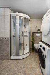 Massasjedusjkabinett og vegghengt toalett.