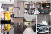 Ny stilfull innredning fra Kvik. Innredning på en vegg og kjøkkenøy med grå glatte fronter.