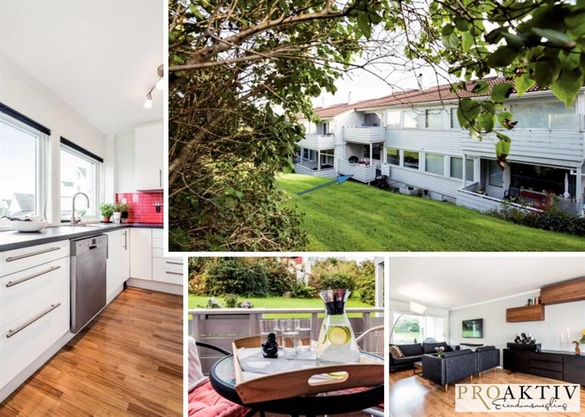 Arealeffektiv leilighet med sentrumsnær beliggenhet. Terrasse med gode solforhold som vender ut mot felles hage.