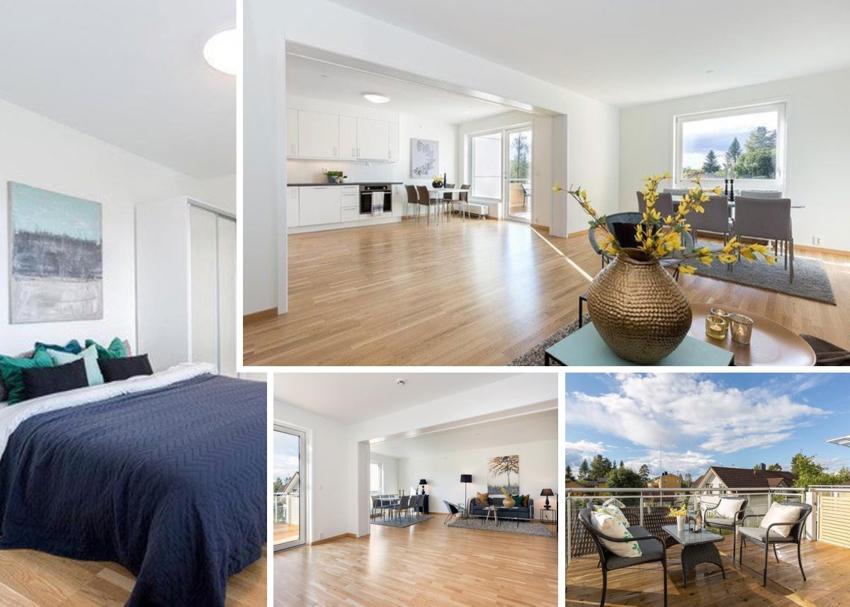 Velkommen til Steinvollvegen 1 - nyere leilighet i 3 etasje med garasje - utsikt mot fellesområdene.