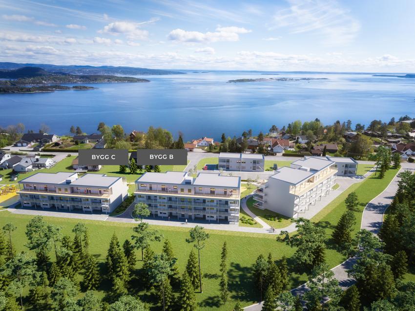 Flott beliggenhet med optimale solforhold og fin utsikt mot Oslofjorden.