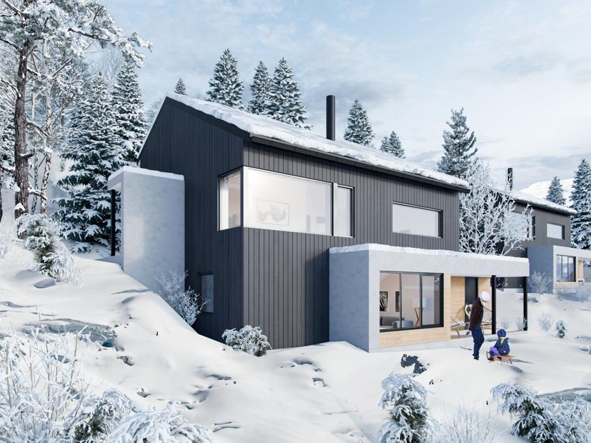 Moderne hytter med flott beliggenhet