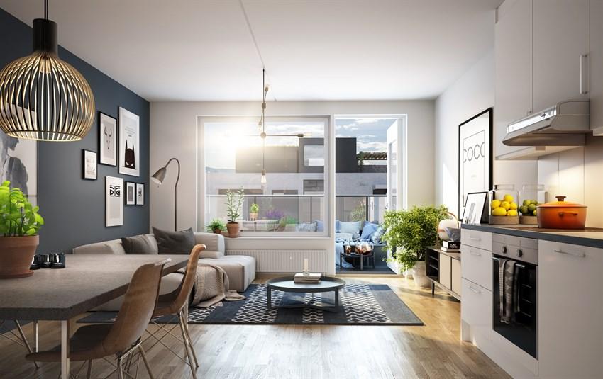 Eksempel på interiør fra litt mindre leilighet.