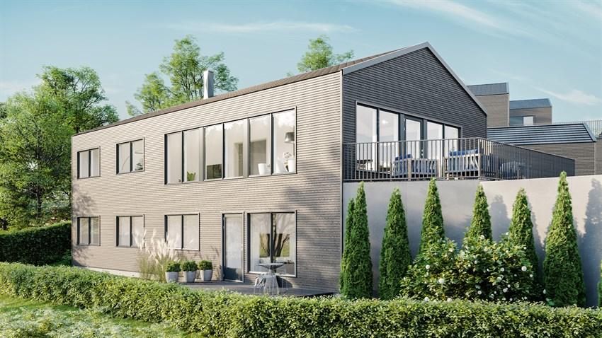 Granåsen, eksklusiv enebolig med dobbel garasje. Innholdsrik og god planløsning. Moderne arkitektur og store vindusflater.