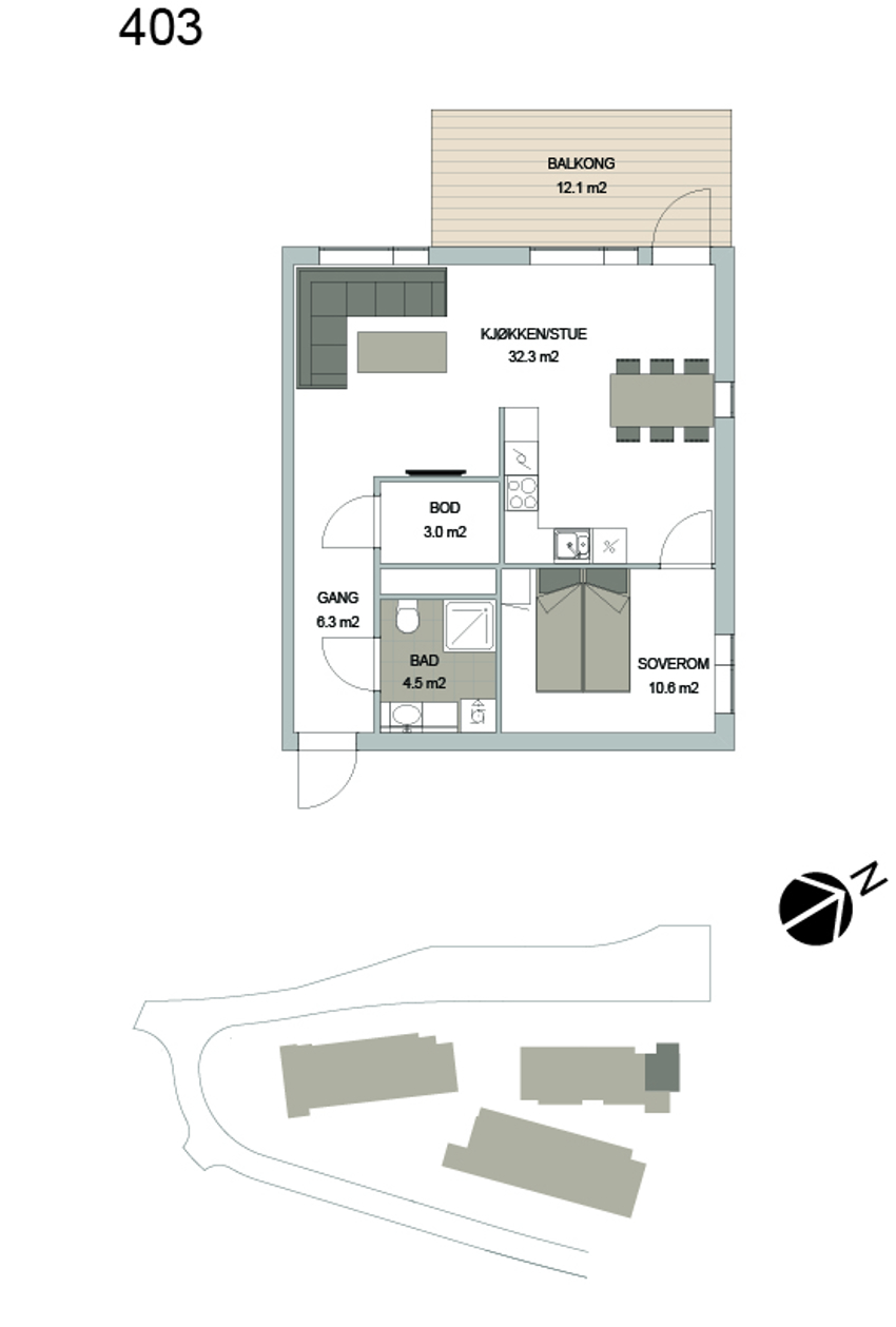 Leilighet 403 i Smedhagen Park 5. Attraktivt 2r selveier i toppetasjen. Gjennomgående endeleilghet med stor vindusflater. 12 kvm balkong. Heis og garasje.