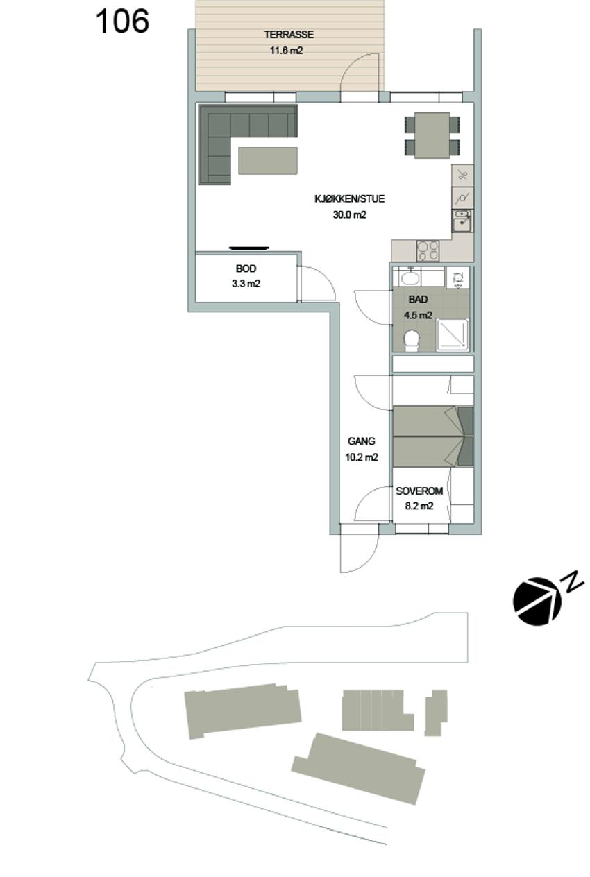 Leilighet 106 i Smedhagen Park 5. 2r selveier med romslig stue. 12 kvm markterrasse, garasje og heis.