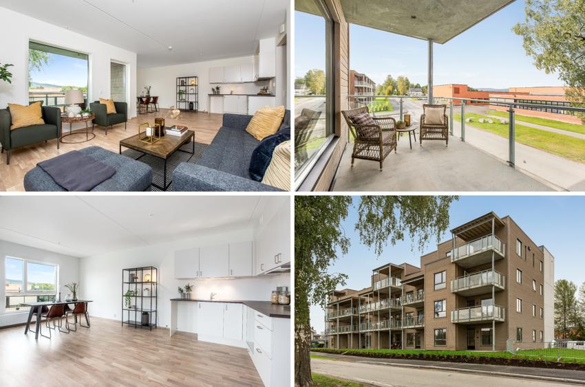 Nyoppført, ikke tidligere tatt i bruk - attraktiv 3r selveierleilighet på sydhjørnet av Smedhagen Parkt 4. 85 kvm BRA i 1. etg. (bildene er fra tilsvarende bolig i 2. etg.) Mulighet for gunstig Husbankfinansiering, 1.6% rente.
