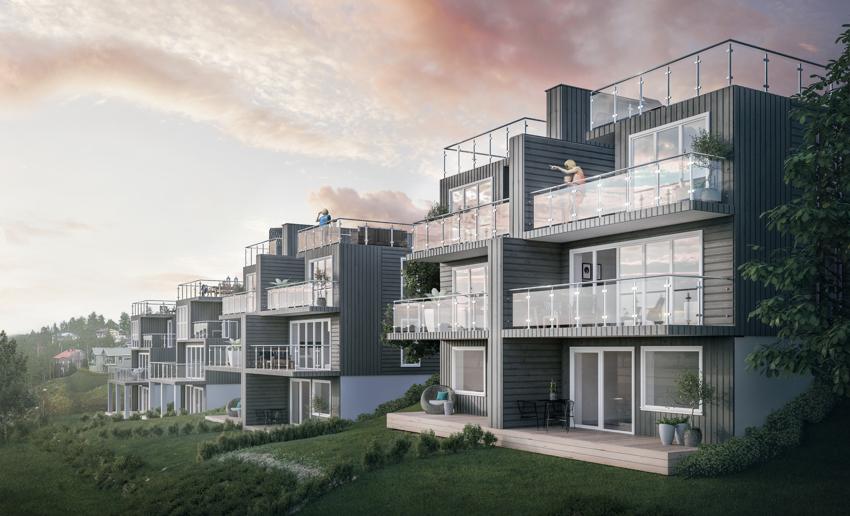 Attraktiv halvpart av 2m bolig på Løkenåsen II. Høyt og fritt i terrenget, panoramautsikt og svært gode solforhold. 50 kvm Takterrasse i tillegg til 2 balkonger.