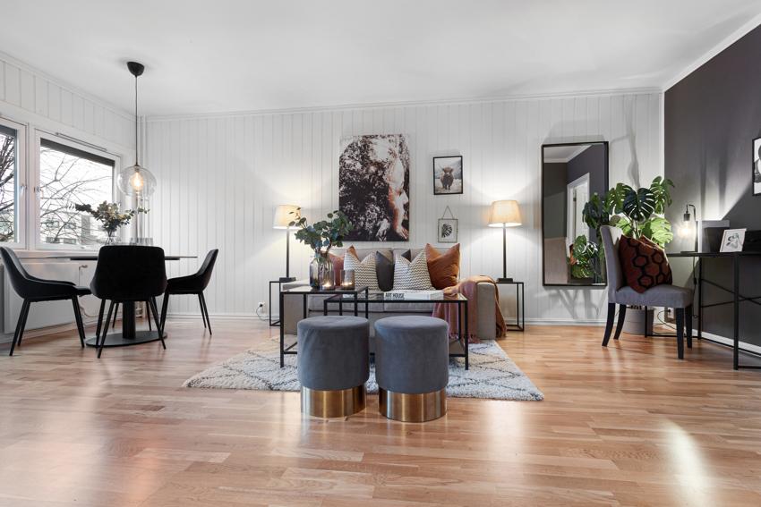 Velkommen inn til denne lyse romslige 2(3)romsen med fyring, internett og parkering inkl.i felleskostnader.